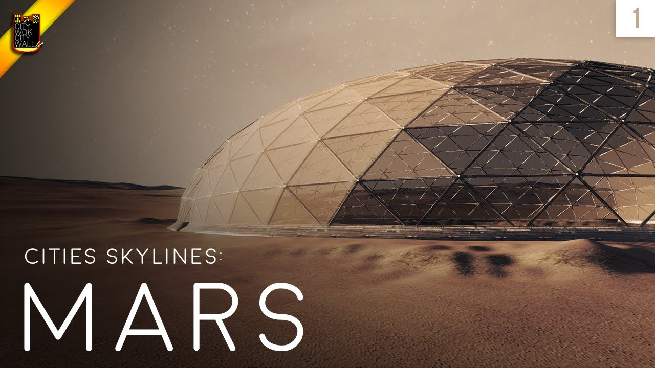 A large habitation dome towers over the desolate red planet